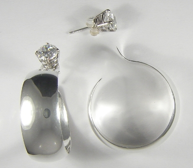 Sterling Silver Wide Large Diameter Dangle Hoop Earring Jackets 39
