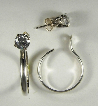 Sterling Silver Solid Thin Half Round Shaped Medium Dangle Hoop Earring Jackets 28