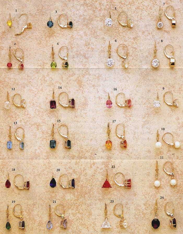 Gemstone Color Earring Studs 14K Yellow or White Gold birthstones ...